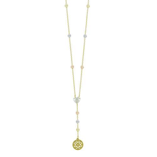 Κολιέ Με Διαμανταρισμένες Μπαλίτσες Από Κίτρινο Χρυσό Κ14 KL04670