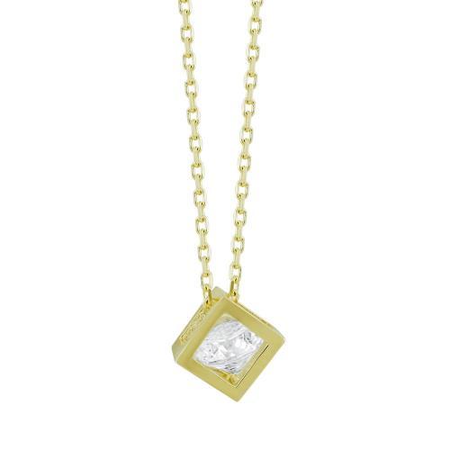 Μενταγιόν Κύβος Με Πέτρα Από Κίτρινο Χρυσό Κ14 M03327