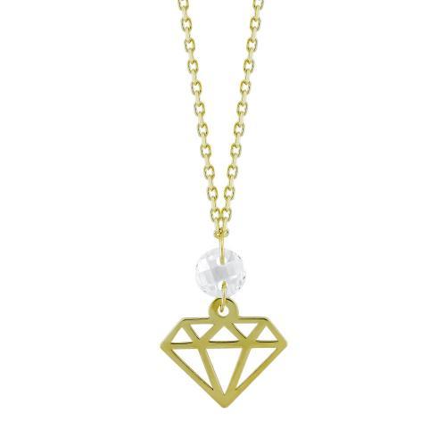 Μενταγιόν Διαμάντι Με Πέτρες Από Κίτρινο Χρυσό Κ14 M04682