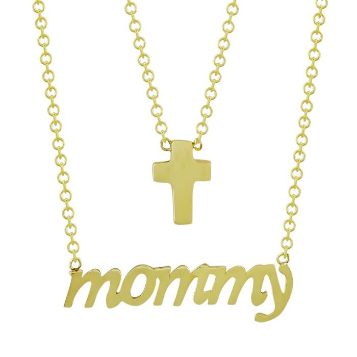 Κολιέ mommy Από Κίτρινο Χρυσό Κ9 KL89828
