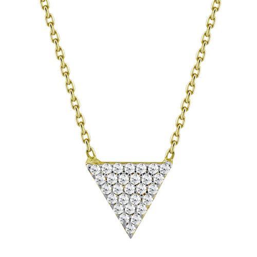 Μενταγιόν Τρίγωνο Με Πέτρες Από Κίτρινο Χρυσό Κ14 M82307
