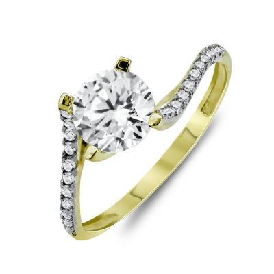 Δαχτυλίδι Μονόπετρο Από Κίτρινο Χρυσό Κ9 DX03562