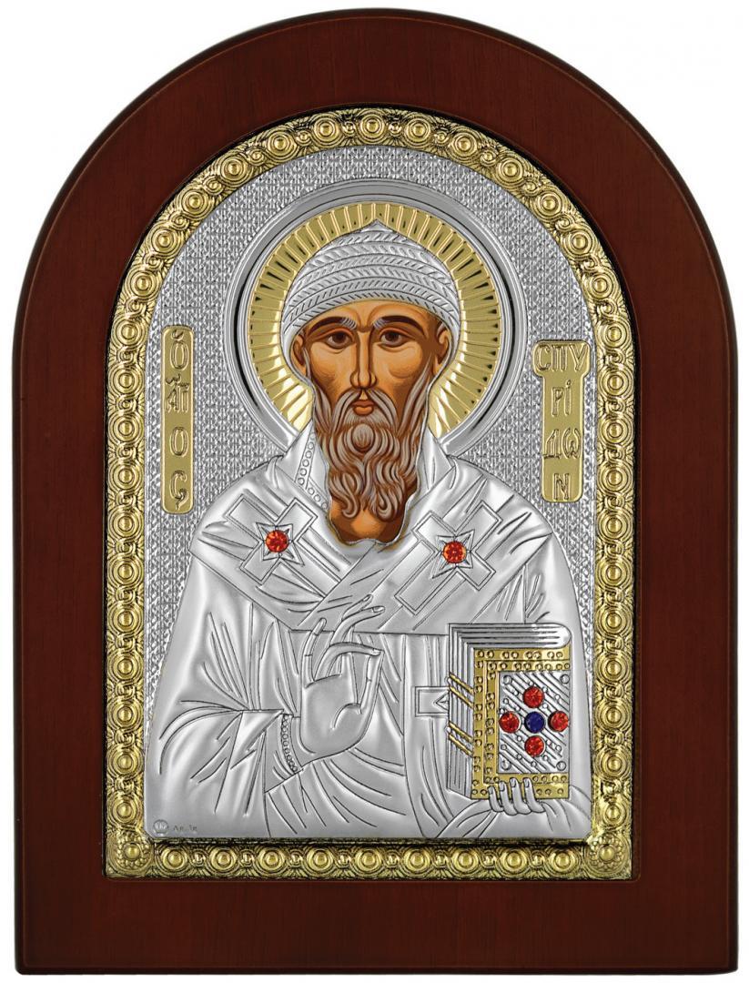 Ασημένια Εικόνα Αγίου Σπυρίδωνος MA-E1111-X