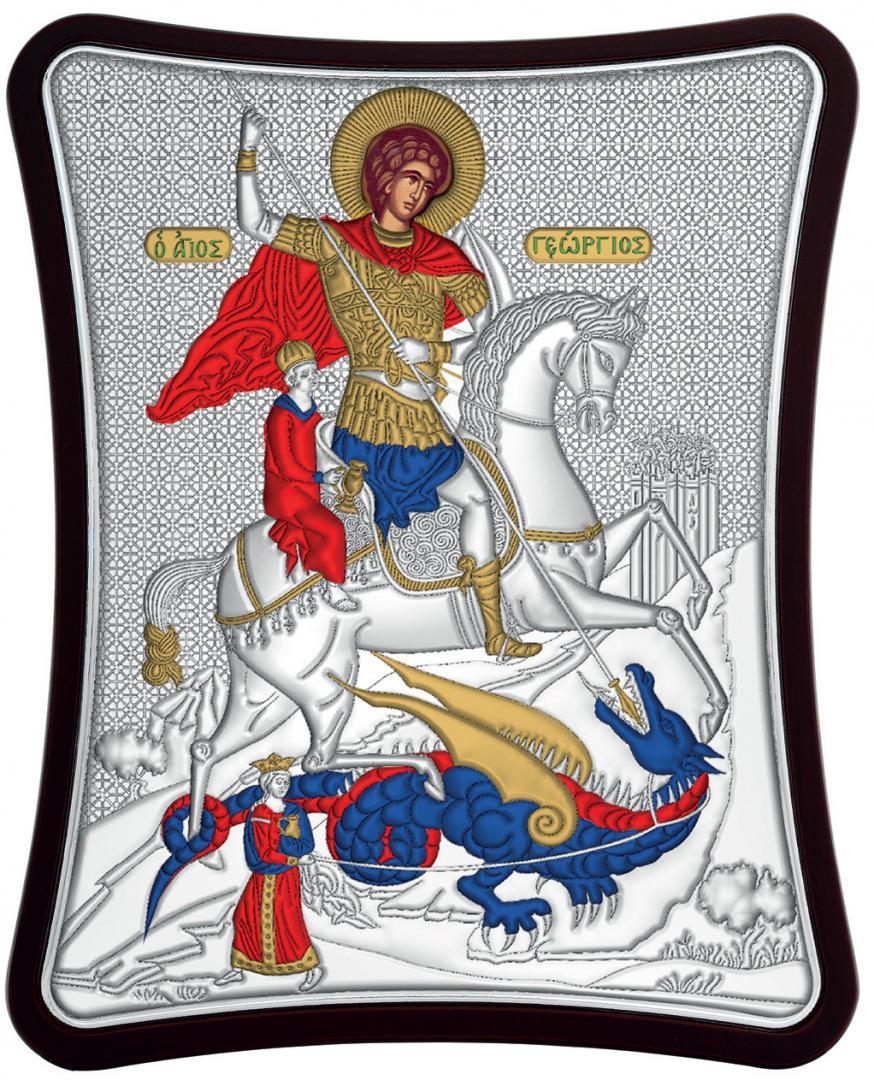 Ασημένια έγχρωμη εικόνα Αγίου Γεωργίου MA-E1430-XC