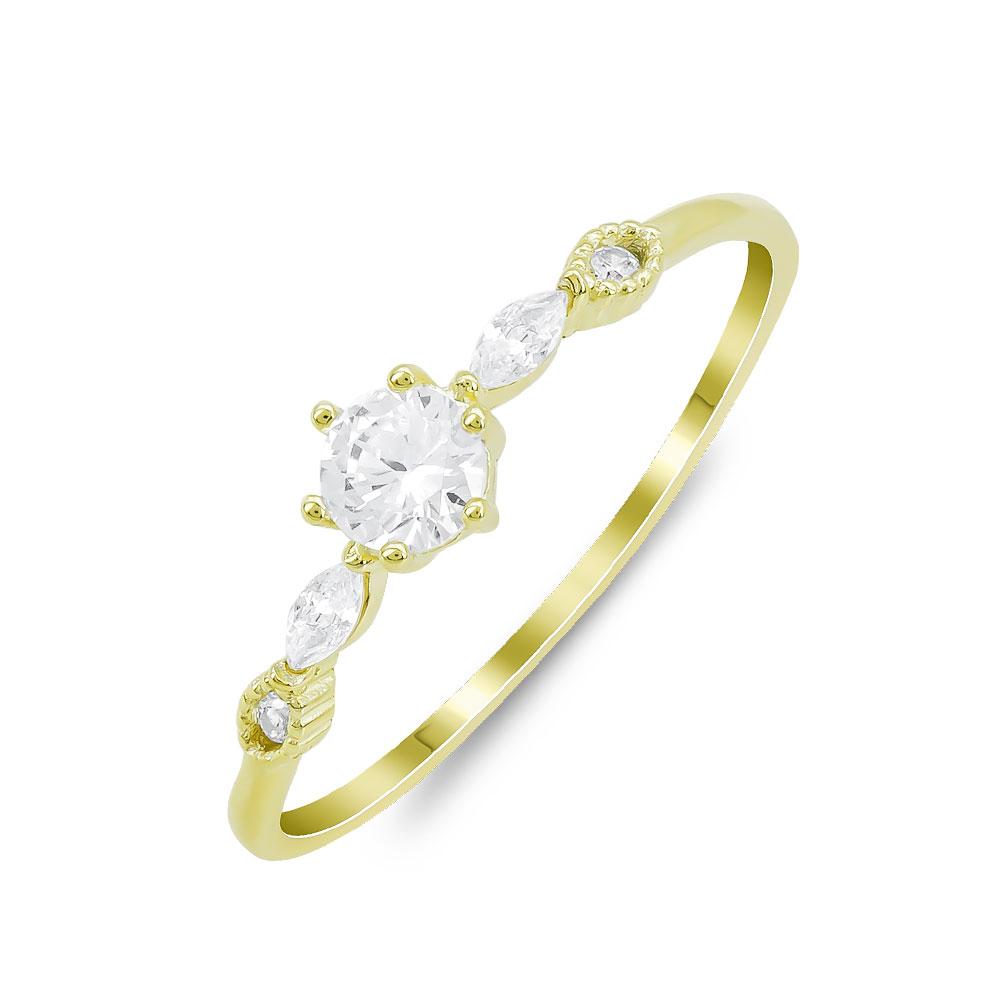 Δαχτυλίδι Μονόπετρο Mε Πέτρες Από Επιχρυσωμένο Ασήμι DX818