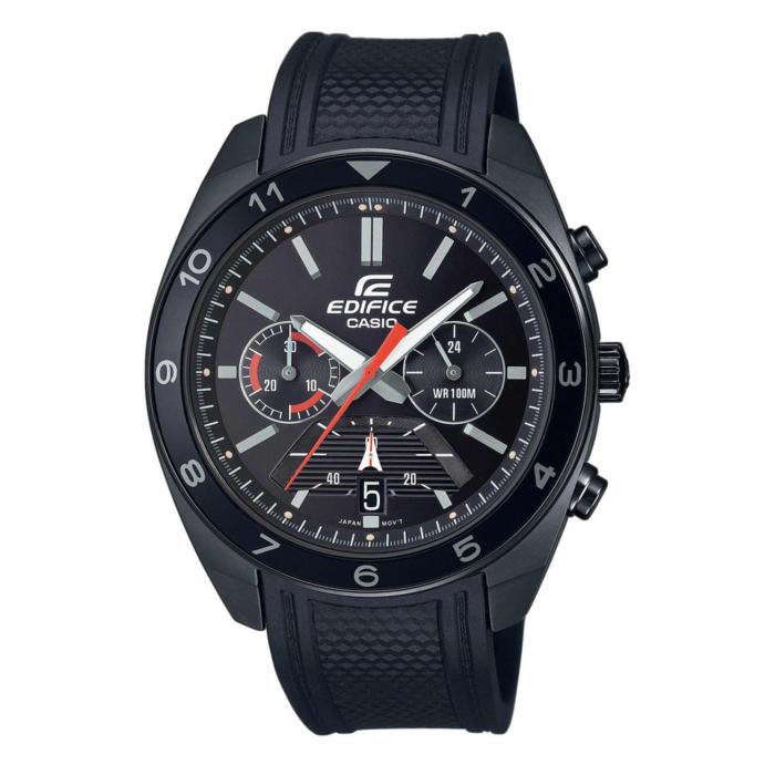 CASIO Edifice Black Rubber Cronograph EFV-590PB-1AVUEF