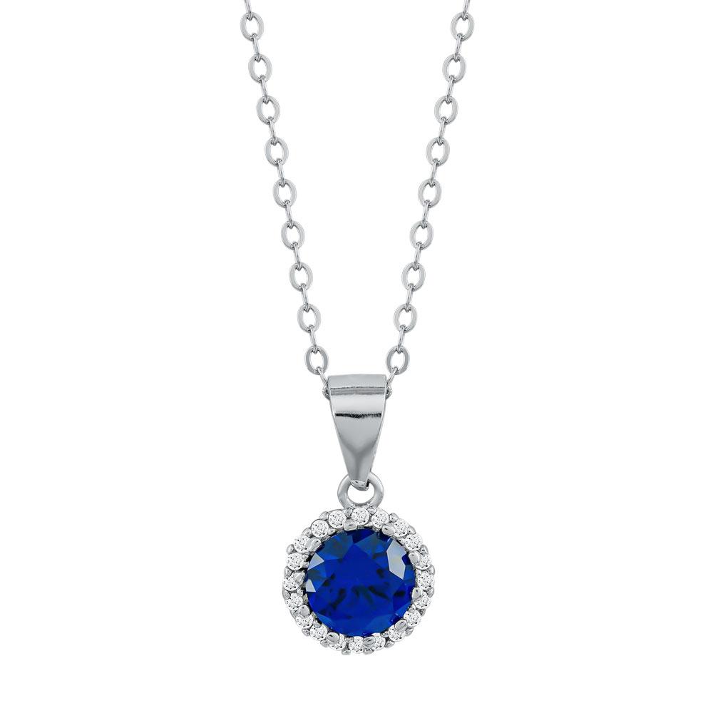 Κολιέ Ροζέτα Με Μπλε Πέτρα από Ασήμι KL938