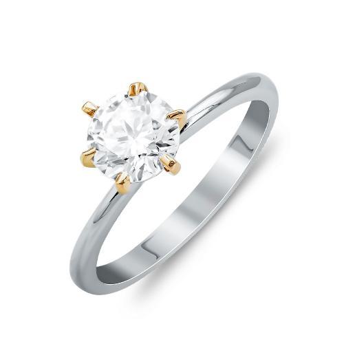 Μονόπετρο Δαχτυλίδι Από Δίχρωμο Χρυσό Κ14 DX811