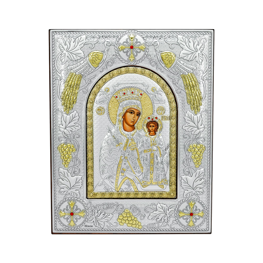 Ασημένια Εικόνα με την Παναγία σε Kαφέ Ξύλο RMA/E3723AX