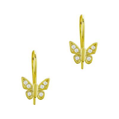 Παιδικά Σκουλαρίκια Πεταλούδες Aπό Επιχρυσωμένο Ασήμι PSK426