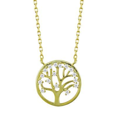 Κολιέ Με Το Δέντρο Της Ζωής Από Επιχρυσωμένο Ασήμι KL883