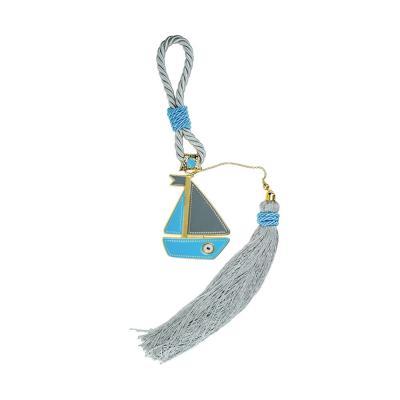 Παιδικό Γούρι Γαλάζιο Γκρι Με Kαράβι Από Επιπλατινωμένο Ατσάλι GV616