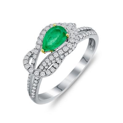 Mονόπετρο Δαχτυλίδι Με Σμαράγδι και Διαμάντια Brilliant Aπό Λευκό Χρυσό Κ18 D53062