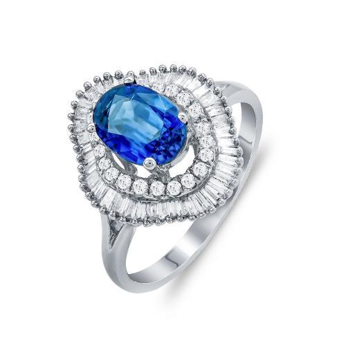 Mονόπετρο Δαχτυλίδι Με Ζαφείρι και Διαμάντια Brilliant Aπό Λευκό Xρυσό Κ18 DDX272