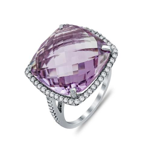 Mονόπετρο Δαχτυλίδι Με Αμέθυστο και Διαμάντια Brilliant Aπό Λευκό Xρυσό Κ18 DDX273