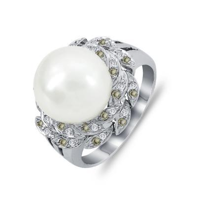 Mονόπετρο Δαχτυλίδι Με Διαμάντια Brilliant και Μαργαριτάρι Akoya Aπό Λευκό Xρυσό Κ18 DDX274