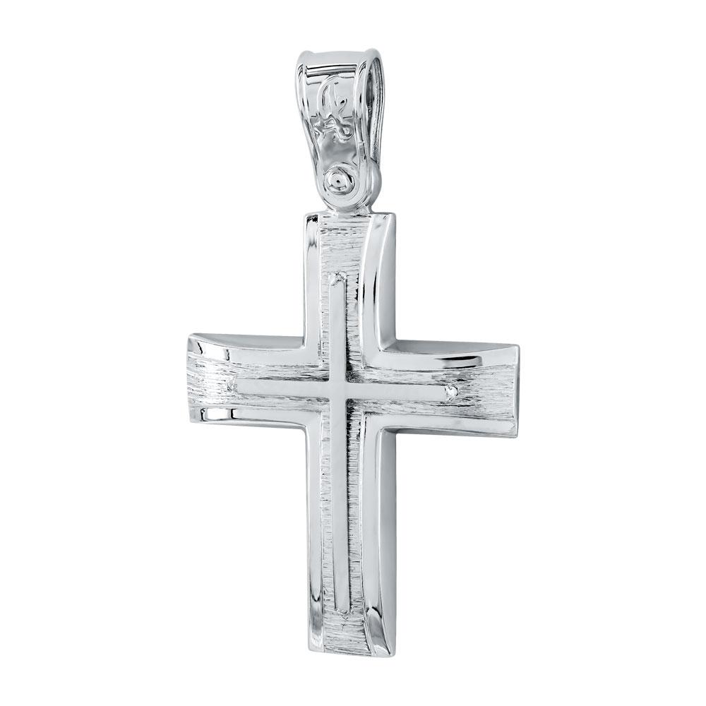Σταυρός Βάπτισης Aνδρικός Σε Λευκό Xρυσό 14 Καρατίων ST2644