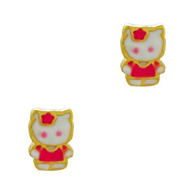 Παιδικά Σκουλαρίκια Miss Kitty Aπό Επιχρυσωμένο Ασήμι PSK439