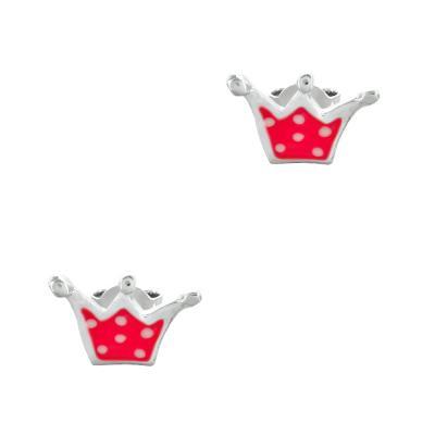 Παιδικά Σκουλαρίκια Kορώνες Aπό Ασήμι PSK440