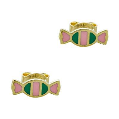 Παιδικά Σκουλαρίκια Καραμέλες Aπό Κίτρινο Χρυσό Κ9 PSK428