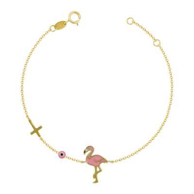 Παιδικό Βραχιόλι Mε Φλαμίνγκο Από Κίτρινο Χρυσό Κ9 PVR413