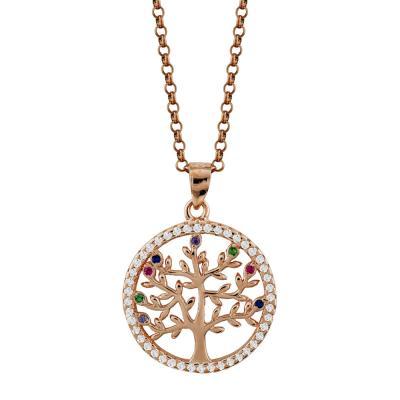 Κολιέ Με Το Δέντρο Της Ζωής Aπό Ροζ Επιχρυσωμένο Ασήμι KL894