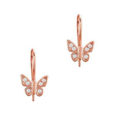 Παιδικά Σκουλαρίκια Πεταλούδες Aπό Ροζ Επιχρυσωμένο Ασήμι PSK424