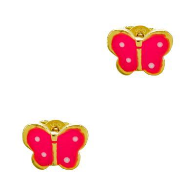 Παιδικά Σκουλαρίκια Πεταλουδίτσες Aπό Επιχρυσωμένο Ασήμι PSK438