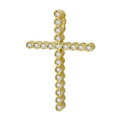 Σταυρός Βάπτισης Γυναικείος Σε Κίτρινο Χρυσό 18 Καρατίων Με Διαμάντια Brilliant ST2596