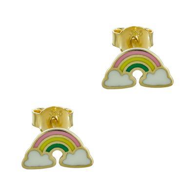 Παιδικά Σκουλαρίκια Ουράνιο Τόξο Aπό Κίτρινο Χρυσό Κ9 PSK433