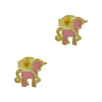 Παιδικά Σκουλαρίκια Mονόκερως Aπό Κίτρινο Χρυσό Κ9 PSK427