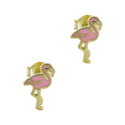 Παιδικά Σκουλαρίκια Φλαμίνγκο Aπό Κίτρινο Χρυσό Κ9 PSK430