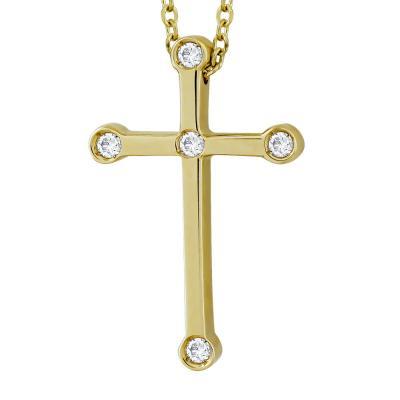 Σταυρουδάκι Μενταγιόν Με Διαμάντια Brilliant Από Kίτρινο Χρυσό Κ18 STM446