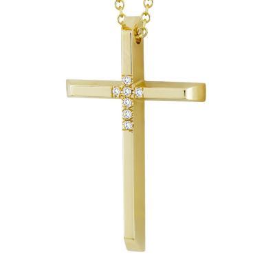 Σταυρός Βάπτισης Γυναικείος Σε Κίτρινο Χρυσό 18 Καρατίων Με Διαμάντια Brilliant ST2599
