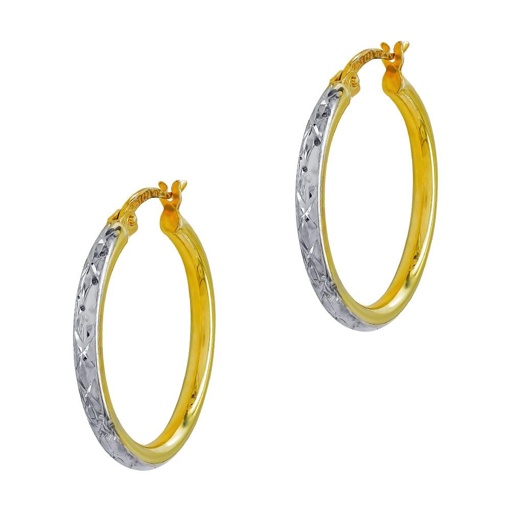 Σκουλαρίκια Κρίκοι Από Δίχρωμο Ασήμι Με Χρύσωμα Κ14 SK1141