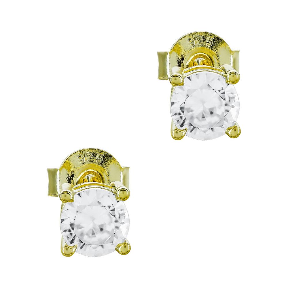 Σκουλαρίκια Με Πέτρες Από Επιχρυσωμένο Ασήμι SK1104