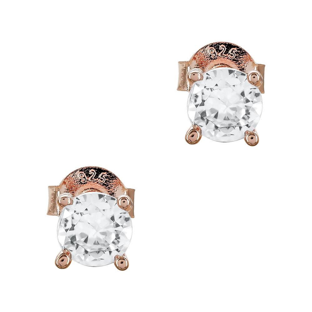 Σκουλαρίκια Με Πέτρες Από Ροζ Επιχρυσωμένο Ασήμι SK1105