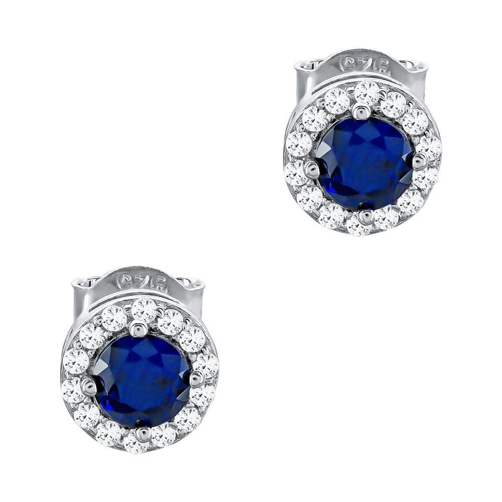 Σκουλαρίκια Με Μπλε Πέτρες Από Ασήμι SK1107