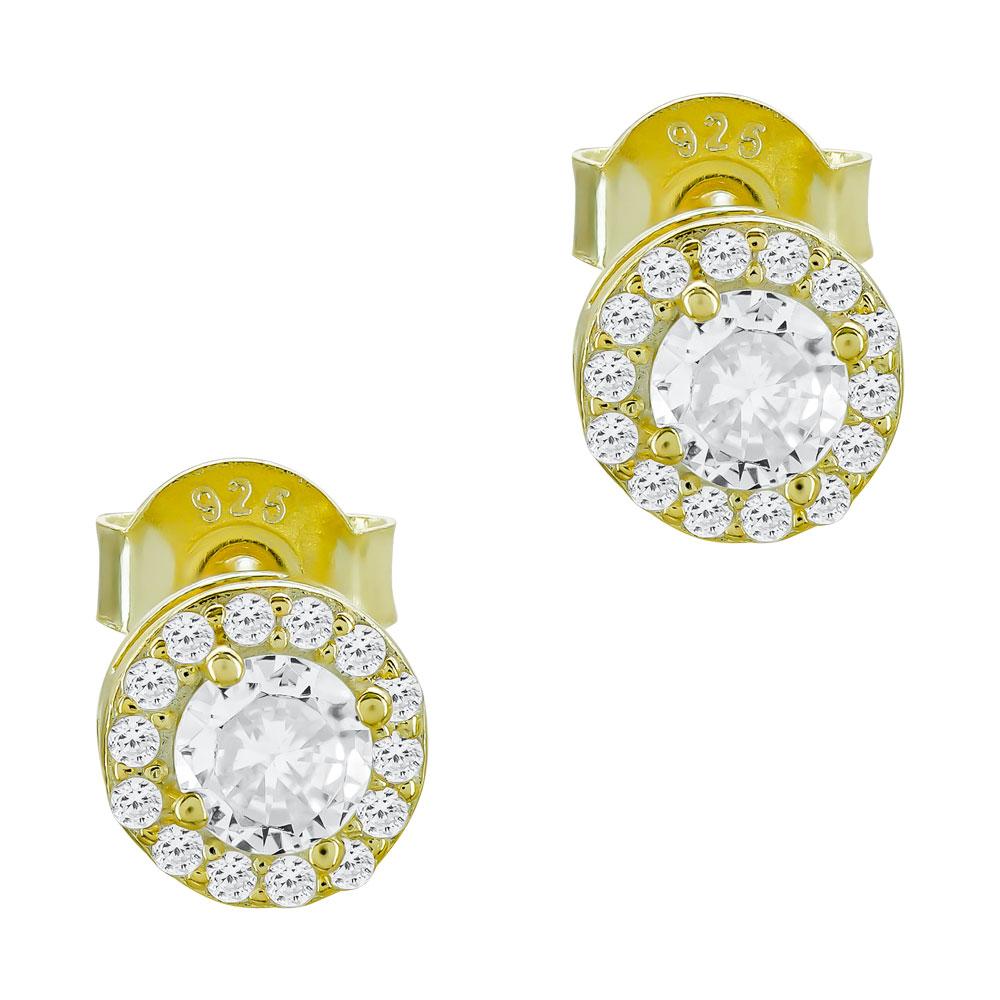 Σκουλαρίκια Με Πέτρες Από Eπιχρυσωμένο Ασήμι SK1109