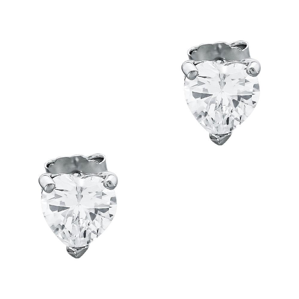 Σκουλαρίκια Καρδούλες Με Πέτρες Από Ασήμι SK1150
