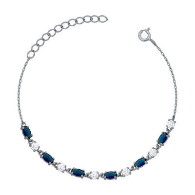 Bραχιόλι με Μπλε Πέτρες από Ασήμι VR759