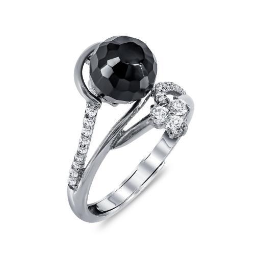 Μονόπετρο Δαχτυλίδι Με Μαύρη Πέτρα από Ασήμι DX679