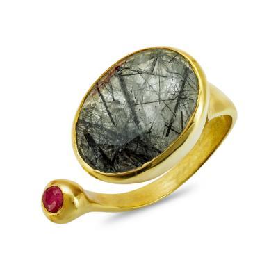 Δαχτυλίδι με Ρουτίλιο Από Επιχρυσωμένο Ασήμι DX864
