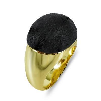 Δαχτυλίδι Με Καφέ Πέτρα από Επιχρυσωμένο Ατσάλι DX692