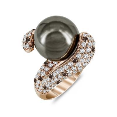 Prince Δαχτυλίδι Με Μαργαριτάρι από Ροζ Επιχρυσωμένο Ασήμι DX687