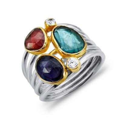 Δαχτυλίδι Mε Τανζανίτη, Γρανάτη και London Topaz Από Δίχρωμο Ασήμι DX837