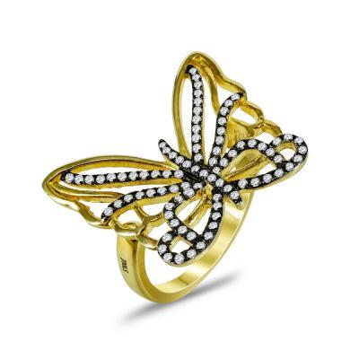 Jools Δαχτυλίδι Σε Σχήμα Πεταλούδας από Επιχρυσωμένο Ασήμι JR208