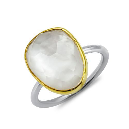 Δαχτυλίδι Μονόπετρο Mε Φίλντισι Από Δίχρωμο Ασήμι DX852