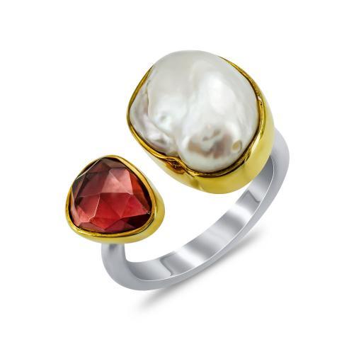 Δαχτυλίδι Mε Φυσικό Μαργαριτάρι και Γρανάτη Από Δίχρωμο Ασήμι DX853