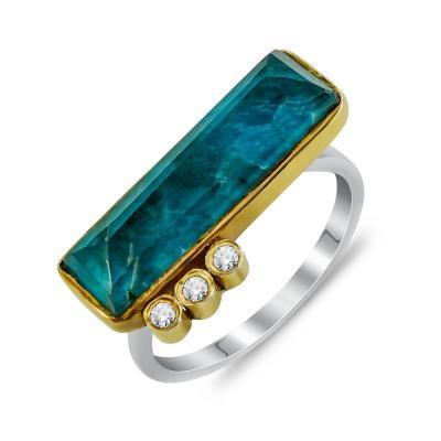 Δαχτυλίδι Mε Απατίτη από Δίχρωμο Ασήμι DX846